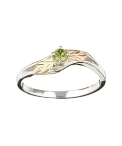 Black Hills Gold and Sterling Silver August Birthstone Ring