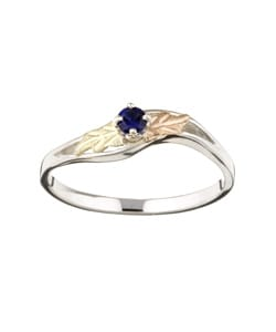Black Hills Gold-and-silver Blue September Birthstone Ring