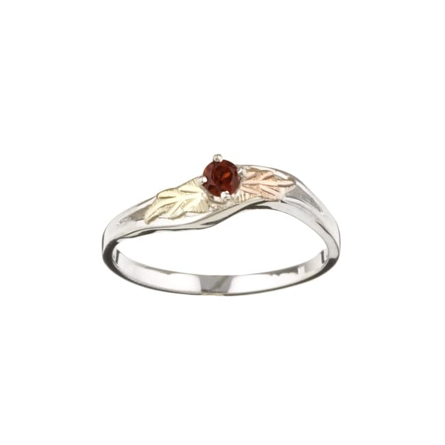 Black Hills Gold and Sterling Silver January Birthstone Ring