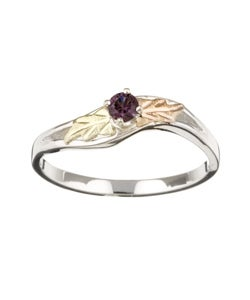 Black Hills Gold and Sterling Silver February Birthstone Ring