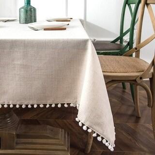 DriftAway Pom Pom Tassel Rectangle Linen Blend Decorative Table Cloth