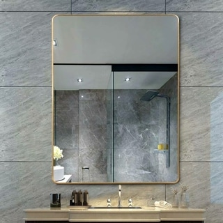 Retro Gold Round-Corner Wall Mounted Mirror with Aluminum Alloy Thin Frame