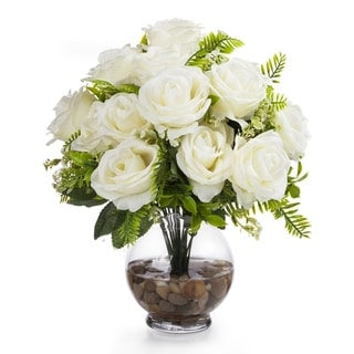Enova Home 18 Heads Silk Rose Flower in Clear Glass Vase with Faux Water and River Stone For Home Office Decoration