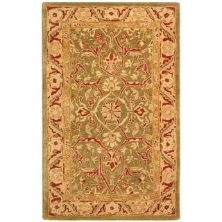 Handmade Ancestry Green/ Red Wool Rug (3&#39; x 5&#39;)