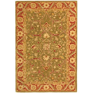Safavieh Handmade Ancestry Green/ Red Wool Rug (4' x 6')