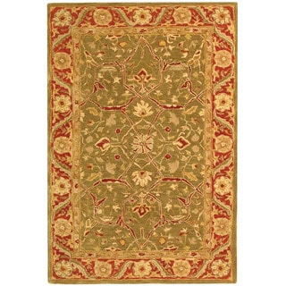 Handmade Ancestry Green/ Red Wool Rug (4' x 6')