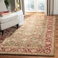 Handmade Ancestry Green/ Red Wool Rug (5&#39; x 8&#39;)