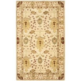 Handmade Oushak Ivory Wool Rug (5' x 8')