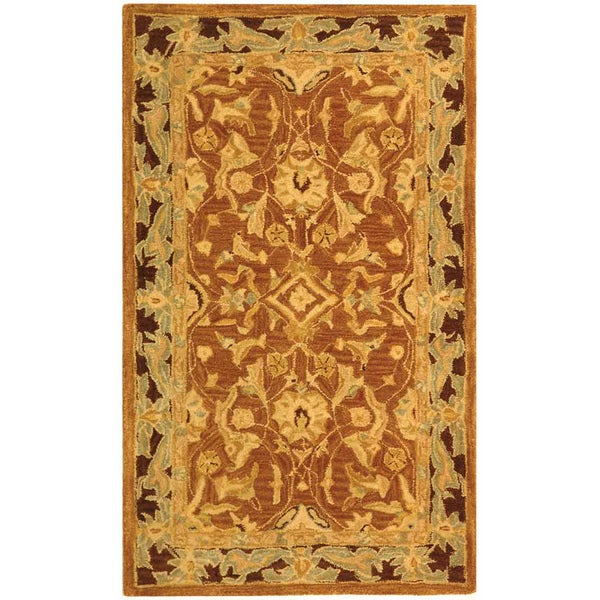 Safavieh Old World Hand-spun Brown Gold/ Plum Wool Rug (3' x 5')