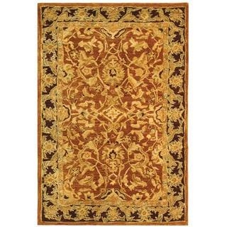 Safavieh Old World Hand-spun Brown Gold/ Plum Wool Rug (4' x 6')