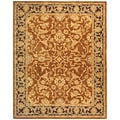 Old World Hand-spun Brown Gold/ Plum Wool Rug (5' x 8')