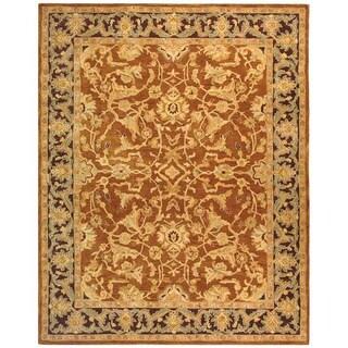 Old World Hand-spun Brown Gold/ Plum Wool Rug (9'6 x 13'6)