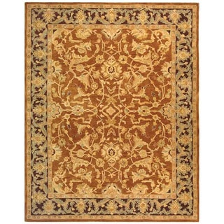 Old World Hand-spun Brown Gold/ Plum Wool Rug (8' x 10')