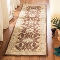 Handmade Old World Brown/ Tan Wool Runner (2&#39;3 x 12&#39;)