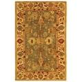 Handmade Heirloom Blue/ Ivory Wool Rug (3' x 5')