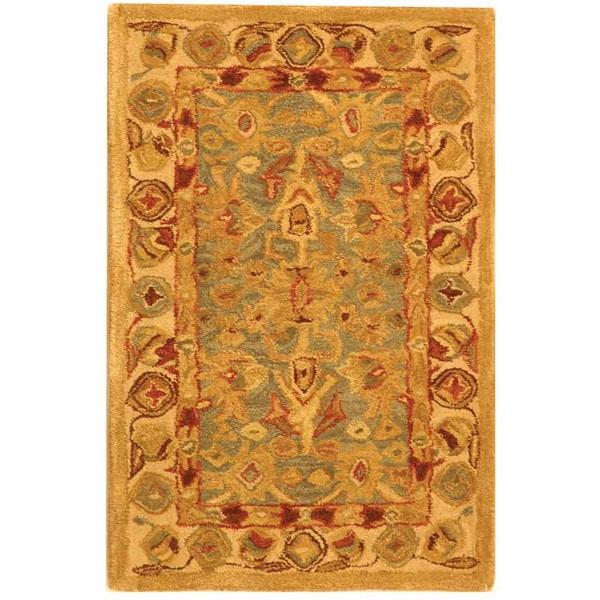 Safavieh Handmade Anatolia Heirloom Blue/ Ivory Wool Rug (2' x 3')
