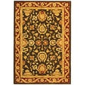 Handmade Kashan Charcoal/ Red Wool Rug (4' x 6')