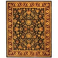 Handmade Kashan Charcoal/ Red Wool Rug (8' x 10')