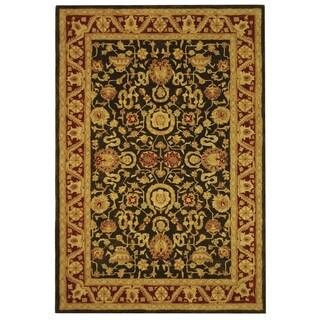 Safavieh Handmade Kashan Charcoal/ Red Wool Rug (5' x 8')