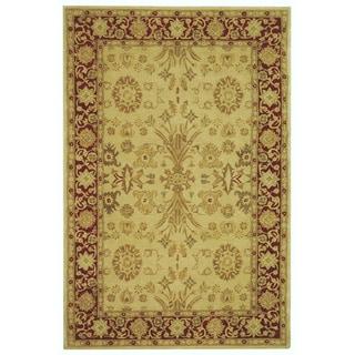 Handmade Mashad Ivory/ Red Wool Rug (9' x 12')