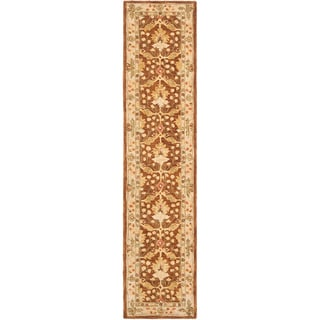 Handmade Oushak Brown/ Ivory Wool Runner (2'3 x 8')