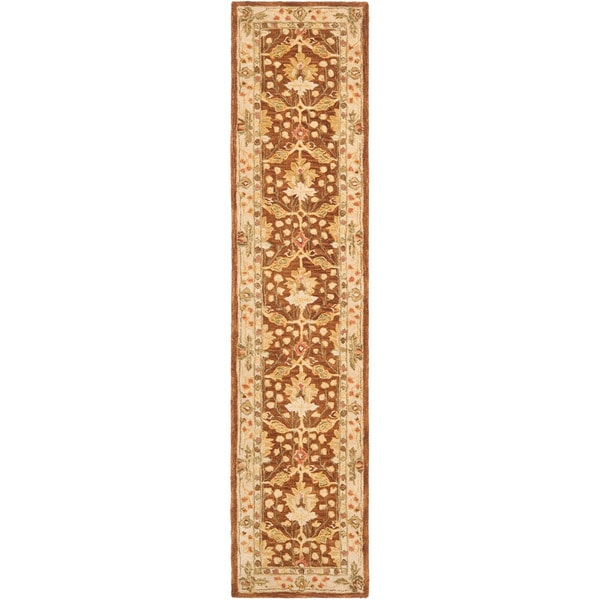 Safavieh Handmade Oushak Brown/ Ivory Wool Runner (2'3 x 12')