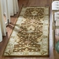 Handmade Oushak Brown/ Ivory Wool Runner (2&#39;3 x 12&#39;)