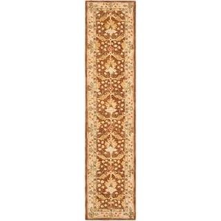 Handmade Oushak Brown/ Ivory Wool Runner (2'3 x 10')