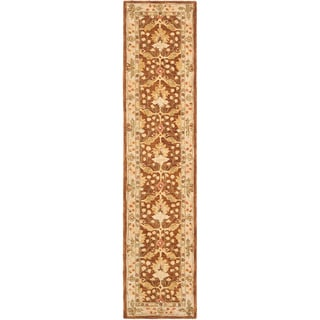 Handmade Oushak Brown/ Ivory Wool Runner (2'3 x 10')