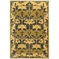 Handmade Mahal Navy/ Sage Wool Rug (6' x 9')