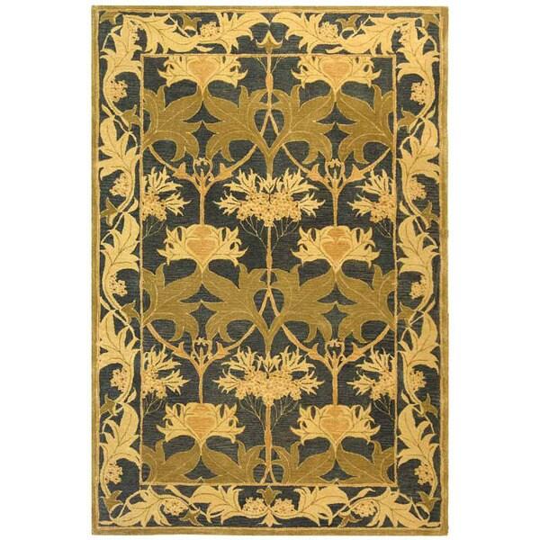 Safavieh Handmade Mahal Navy/ Sage Wool Rug (6' x 9')