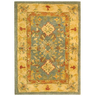 Handmade Legacy Light Blue Wool Rug (2' x 3')