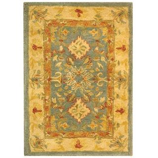 Handmade Legacy Light Blue Wool Rug (2' x 3')