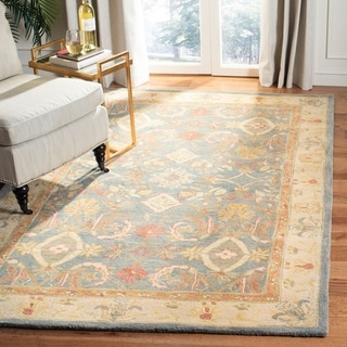 Handmade Legacy Light Blue Wool Rug (4' x 6')