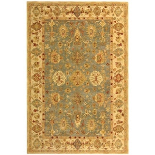 Safavieh Handmade Heirloom Blue/ Ivory Wool Rug (5' x 8')