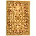 Handmade Heirloom Ivory/ Light Green Wool Rug (2' x 3')