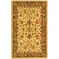 Handmade Heirloom Ivory/ Light Green Wool Rug (3' x 5')