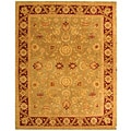 Safavieh Handmade Kashan Green/ Red Wool Rug (9'6 x 13'6)