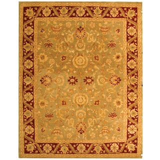 Handmade Kashan Green/ Red Wool Rug (9'6 x 13'6)