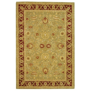 Safavieh Handmade Kashan Green/ Red Wool Rug (6' x 9')
