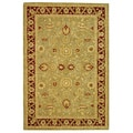 Handmade Kashan Green/ Red Wool Rug (6' x 9')