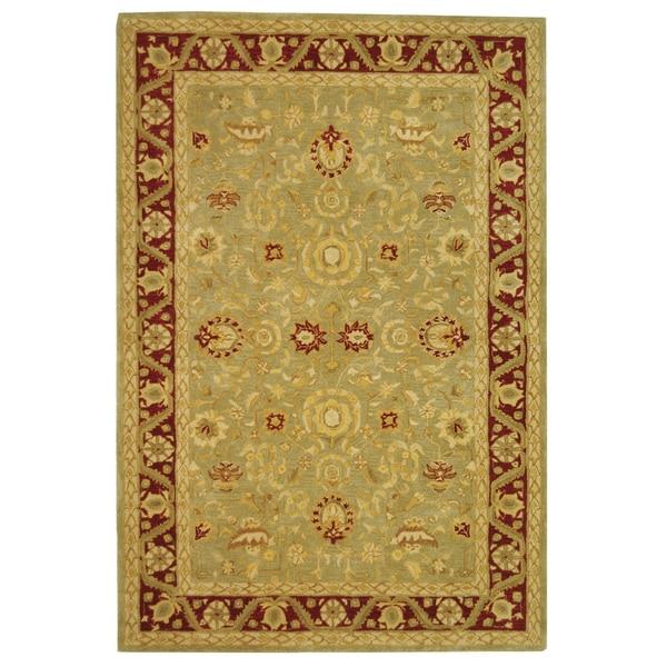 Safavieh Handmade Kashan Green/ Red Wool Rug (6' x 9')