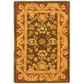 Handmade Kashan Charcoal/ Red Wool Rug (2' x 3')