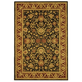 Safavieh Handmade Kashan Charcoal/ Red Wool Rug (6' x 9')