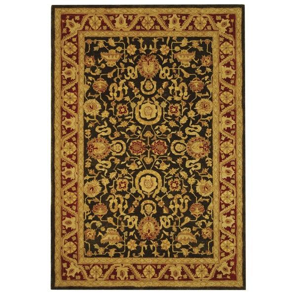 Safavieh Handmade Kashan Charcoal/ Red Wool Rug (6' x 9')