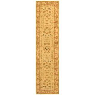 Handmade Treasured Sand Wool Rug (2'3 x 8')