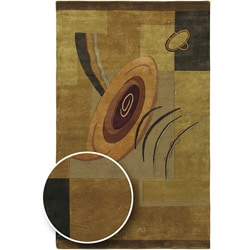 Hand-knotted Brown Contemporary Karur Collection Wool Abstract Rug (2'6 x 10')