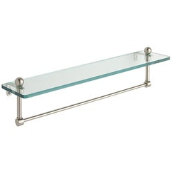 22-inch Glass Bathroom Shelf with Towel Bar