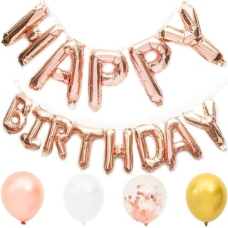 Happy Birthday Rose Gold Foil Letters with 20-Pack Balloons for Party Decorations