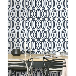 NextWall Navy Deco Lattice Peel and Stick Removable Wallpaper - 20.5 in. W x 18 ft. L